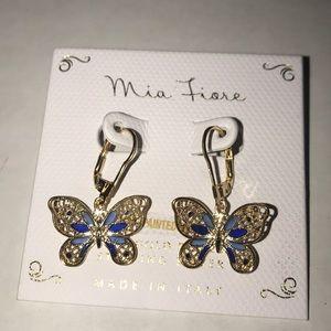 Mia Fiore Gold/Sterling Silver Butterfly Earrings